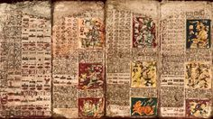 The Preface of the Venus Table of the Dresden Codex, first panel on left, and the first three pages of the Table. Image credit: University of California, Santa Barbara.