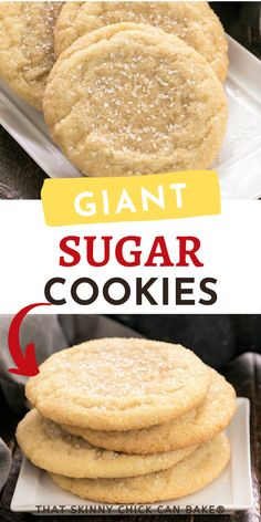 These Giant Homemade Sugar Cookies are soft, chewy with a coating of crunchy coarse sugar! You won't think you'll eat the whole thing, but you will! Delicious Cookie Recipes, Best Cookie Recipes, Snack Recipes, Dessert Recipes, Cooking Recipes, Snacks, Desserts, Homemade Sugar Cookies, Yummy Cookies