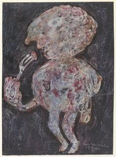 Dubuffet, Jean - The Big Eater - Art Informel - Abstract - Oil on cardboard Abstract Oil, Abstract Expressionism, Jean Fautrier, Art Informel, Jean Dubuffet, Tachisme, Jean Philippe, Black Paper, Outsider Art