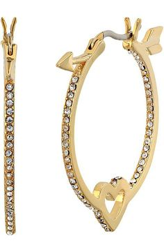 Kate Spade New York Be Mine Heart and Arrow Hoops (Clear/Gold) Earring - Kate Spade New York, Be Mine Heart and Arrow Hoops, WBRUD283-921, Jewelry Earring General, Earring, Earring, Jewelry, Gift - Outfit Ideas And Street Style 2017