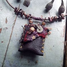 Medicine bag Tribal necklace Talisman necklace Amulet by quisnam