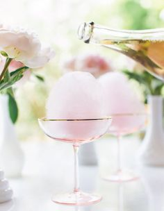 Cotton candy champagne cocktail for bridal shower, bachelorette party, or custom wedding cocktail - champagne wedding cocktails {Lauren Conrad} (bachelorette party drinks alcohol) Party Drinks, Cocktail Drinks, Cocktail Recipes, Alcoholic Drinks, Beverages, Pink Cocktails, Drink Recipes, Bachelorette Party Desserts, Non Alcoholic Champagne