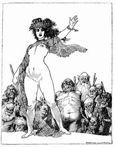What a funny little illustration this is! From a version of Aristophanes' Lysistrata illustrated by Norman Lindsay, 1925. Check out Lysistrata translated in modern English by Ian Johnston at RicherResourcesPublications.com