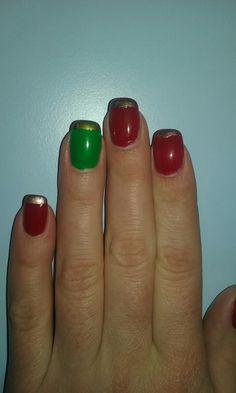 #Christmasnails #Christmas #Avon #Rimmel #green #red #bronze #homemade