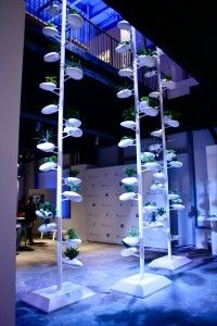 Danielle Trofe's vertical gardening towers use hydroponics to supply plants with water and nutrients. This installation was for the Live Screen BMW i Born Electric Tour.