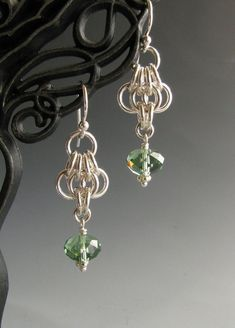 Butterfly Wing Chainmaille Earrings with Green by WolfstoneJewelry, $20.00 by minnie slade