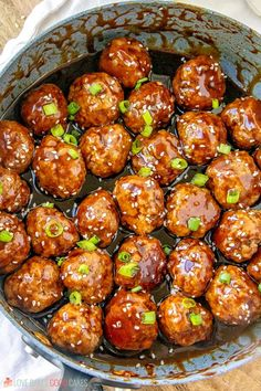 A few simple pantry ingredients combine to make this quick and easy Sticky Asian Glazed Meatballs recipe. It'll be a hit with the whole family! Recipes Using Meatballs, Glazed Meatballs Recipe, Asian Meatballs, Chicken Meatballs, Frozen Meatball Recipes, Pork Sausage Recipes, Chicken Meatball Recipes, Meatball Meals, Hamburger Recipes