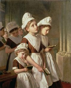 Foundling Girls at Prayer in the Chapel 1877 - Sophie Anderson - (French: 1823-1903)