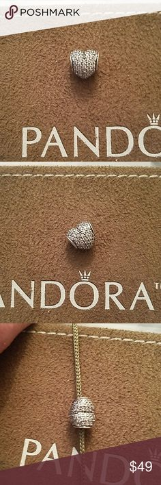 NWOT Authentic Pandora Clear Pave Heart New 791052CZ Authentic Pandora sterling silver Clear Pave Heart Bead. Clear CZ's from top to bottom and all over. Can we say sparkle? Pandora Jewelry Bracelets