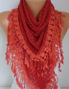 Red Knitted Lace Scarf Shawl Winter Scarf  Cowl Oversized