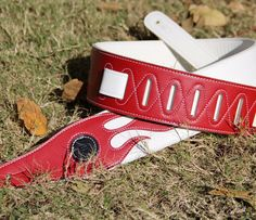 Leather 2 Tone Flame Guitar Strap