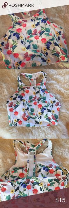 NWOT Crop Top/bra Fabletics NWOT crop top with built in support. Medium support for cup size A-B and low for C. Fun floral pattern. Really cute with an open back shirt Fabletics Tops Crop Tops