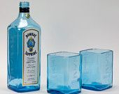 Set of Two Recycled Bombay Sapphire Drinking Glasses, New : Set of Two 2 Recycled Bombay Sapphire Gin Liquor Bottles by BottleshockGlassware, Cool Eco Friendly Gift Liquor Bottle Crafts, Alcohol Bottles, Liquor Bottles, Bottles And Jars, Glass Bottles, Empty Bottles, Vodka Bottle, Recycled Bottles, Recycled Glass
