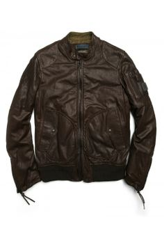 Goat leather jacket with rib knit border a16940e9ffb27