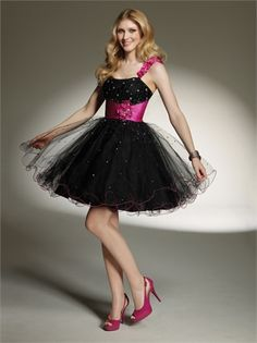 One shoulder Empire waist with floral applique Beaded Knee Length Tulle Homecoming Dress HD1043 www.homecomingstore.com $127.0000