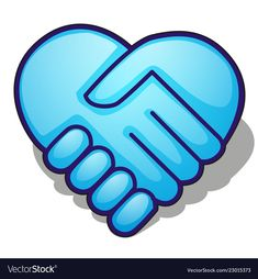 Handshake symbol forming a blue heart isolated on vector image on VectorStock Mini Cafe, Snow Vector, Vector Game, Fruit Cartoon, Pin Logo, Celtic Symbols, Sewing Studio, Pink Sky, Pattern And Decoration