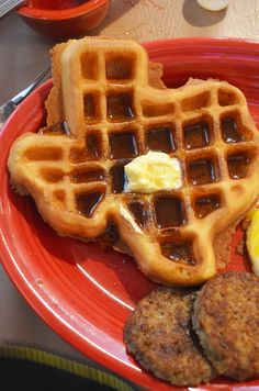 You know you're in Texas when the waffles at the hotel breakfast are shaped like the state.