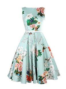 Floral Standard-Waist Knee-Length Summer Single European Sleeveless Pullover  Dress Dress Vintage b7c54ff3a