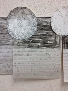 Simply Second Grade: Moon Moon w/water, paint, Karo syrup, and dish soap plus the kids write four facts they learned about the moon.