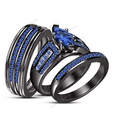 14K Black Gold Finish 2.25 Carat Marquise Blue Sapphire His & Her Trio Ring Set