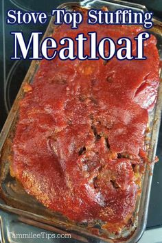 Easy Stove Top Meatloaf Recipe is the perfect comfort food family dinner main dish! You only need a few pantry basics including ground beef, stove top stuffing, and eggs to make the meatloaf. This meatloaf is covered in a great ketchup meatloaf glaze also made with pantry basics. A great easy dinner recipe you can prepare in minutes. Meatloaf Recipe Video, Meat Loaf Recipe Easy, Meatloaf Recipes, Pork Recipes, Hamburger Recipes, Homemade Meatloaf, Easy Meatloaf, Meatloaf Glaze, Stove Top Stuffing Meatloaf