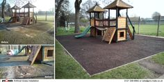 Bonded Rubber Mulch Safety Surface - The original wet pour safety surface underneath this piece of play equipment had long since past it's best, was full of moss and had become dangerous. Pro-mats lifted the wet pour and replaced it with a soft, bouncy Bonded Rubber Mulch surface that the children can now play on in complete safety.
