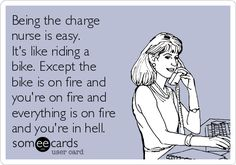 Free and Funny Workplace Ecard: Being the charge nurse is easy. It's like riding a bike. Except the bike is on fire and you're on fire and everything is on fire and you're in hell. Create and send your own custom Workplace ecard. Rn Humor, Medical Humor, Nurse Humor, Nursing School Humor, Nursing Memes, Funny Nurse Quotes, Nurses Week Quotes, Happy Nurses Week, Nurse Problems