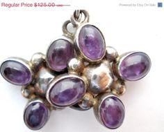 Big Sale Vintage Amethyst Dangle Earrings Sterling Silver Gemstone 3.4 Ct