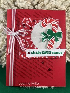Sweet Seasons Card using Candy Cane Seasons stamp set and builder punch! Christmas Cards 2018, Homemade Christmas Cards, Christmas Hanukkah, Merry Christmas Card, Stampin Up Christmas, Christmas Candy, Xmas Cards, Christmas 2019, Handmade Christmas