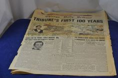 1947 Vintage Newspaper Chicago Daily Tribune Centennial Edition First 100 Years