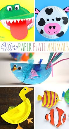 A roundup of colorful, animal paper plate animal crafts! A fun companion craft to any animal books!
