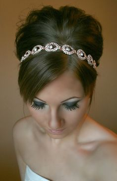 ON SALE Rose Gold Headband Wedding headpiece by BrassLotus on Etsy