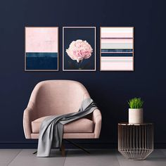 Pink and Navy Gallery Wall Art Set of 3 Prints Modern Prints Abstract Art Peony Print Bedroom Decor living Room Art Wall 3 Piece Wall Art, Wall Art Sets, Pink Wall Art, Living Room Art, Living Room Designs, Living Room Decor Blue Walls, Living Room Prints, Bedroom Prints, Art Mural Rose