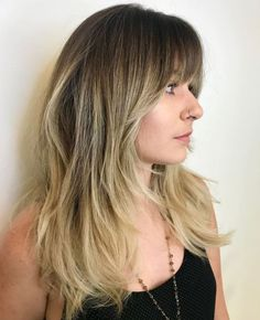 Brunette Balayage for Thick Hair - 50 Cute Long Layered Haircuts with Bangs 2019 - The Trending Hairstyle Haircuts For Long Hair With Layers, Layered Haircuts With Bangs, Bangs With Medium Hair, Medium Hair Cuts, Long Hair Cuts, Medium Hair Styles, Long Hair Styles, Long Face Hairstyles, Straight Hairstyles