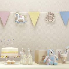 Beautiful paper bunting with 14 assorted flags, Rocking horses, teddies and pastel coloured flags to drape and decorate your baby's special event. The Bunting is long. Bleu Pastel, Rose Pastel, Babyshower, Paper Bunting, Rock A Bye Baby, Vintage Party, Centerpieces, Flag, Place Card Holders