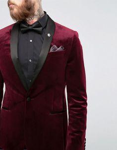 ASOS   ASOS Skinny Blazer In Burgundy Velvet
