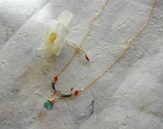 14k Filled Chain Necklace with Calcedony and Carnelian Gemstones