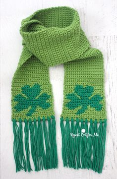 Crochet Shamrock Scarf - Repeat Crafter Me | Bernat (Spinrite) Super Value Yarn in Lush and Kelly Green | Crochet | St. Patrick's Day  | Free pattern