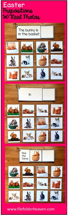 "These Easter Prepositions and Matching Activities w/Real Photos include three complete ""Big Flips"" or big flip books that focus on basic prepositions, sentence comprehension, and basic matching skills. They work well in multi-level classrooms where students may be working at many different levels."