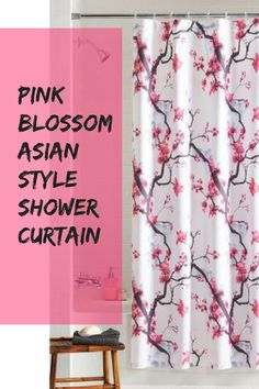 This Fabric shower curtain gives your bathroom an Asian-inspired style update. With its naturalistic cherry tree design set on a soft white background, it brings an air of beauty and charm to your bathroom decor. Asian Bathroom, World Decor, Asian Decor, Pink Blossom, Design Set, Cherry Tree, Tree Designs, Fabric Shower Curtains, Asian Style