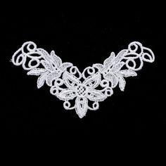 Applique Lace Fancy Floral 75x130mm 1pc White - 1613-0111-03 - Club Bead Plus