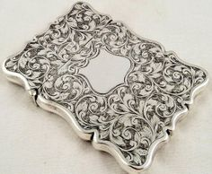 Antique silver engraved card case - Birmingham 1905