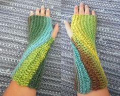 Swirl -gloves. Knitted&crocheted.