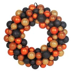 Orange and Black Balls Halloween Wreath (Orange/Black) ❤ liked on Polyvore featuring home, home decor, holiday decorations, halloween home decor, orange home decor, halloween wreaths, black home decor and orange home accessories
