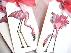 Pink Flamingo Glitter Gift Tags