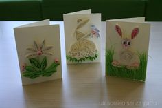 Easter cards made using quilling technique / Biglietti augurali di Pasqua