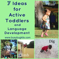 BusyBug Kits: 7 Ideas for Active Toddlers and Language Development. Pinned by SOS Inc. Resources. Follow all our boards at pinterest.com/sostherapy for therapy resources.