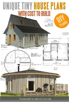 """These cute house floor plans with cost to build come from a group of professional architects and designers called """"Pin-Up House"""". All construction estimates are based on the actual building costs. Unique Small House Plans, Micro House Plans, A Frame House Plans, House Plan With Loft, Small House Floor Plans, Up House, Tiny Cabin Plans, Simple Floor Plans, Tiny House Exterior"""