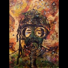 War doesn't exist if I can't see it. | Mike Brennan  Ink with bamboo, watercolor & gouache.   #watercolor #art #gouache #ink #bamboo #war #peace #soldier #person #gasmask #camo #camouflage #painting #drawing #illustration #face