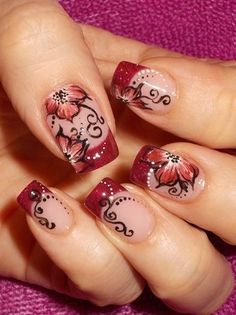 Nude nails, red french manicure tips, Red floral one stroke painting technique, red flowers, black free hand scroll work nail art perfect for fall! Great Nails, Fabulous Nails, Gorgeous Nails, Amazing Nails, Red Nail Art, Cool Nail Art, Hot Nails, Hair And Nails, Nude Nails